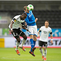 Rosenborg v St Johnstone....18.07.13  UEFA Europa League Qualifier.<br /> Dave Mackay and John Chibuike<br /> Picture by Graeme Hart.<br /> Copyright Perthshire Picture Agency<br /> Tel: 01738 623350  Mobile: 07990 594431