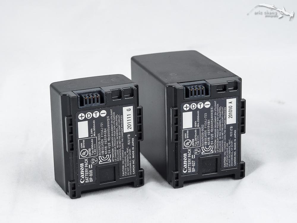 Canon camcorder batteries: BP-827 2670 mAh 7.4V and BP-808 890 mAh 7.4V