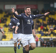 Peter MacDonald celebrates after scoring the opening goal - Livingston v Dundee - SPFL Championship at Almondvale <br />  - &copy; David Young - www.davidyoungphoto.co.uk - email: davidyoungphoto@gmail.com