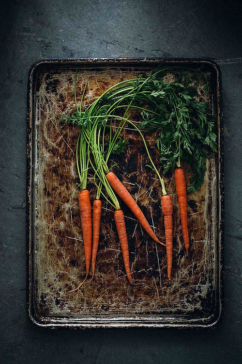 Carrot on baking tray