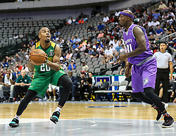 August 17, 2018 - Dallas, TX, U.S. - DALLAS, TX - AUGUST 17: Ball Hogs Andre Owens #20 ties to dribble around Ghost Ballers Ricky Davis #31 during the Big 3 Basketball playoff game between the Ghost Ballers and the Ball Hogs on August 17, 2018 at the American Airlines Center in Dallas, Texas. The Ball Hogs defeated the Ghost Ballers 50-35. (Photo by Matthew Pearce/Icon Sportswire) (Credit Image: © Matthew Pearce/Icon SMI via ZUMA Press)