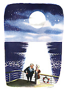 (A middle aged couple are standing on the deck of a cruise ship, underneath a full moon, having an arguement)