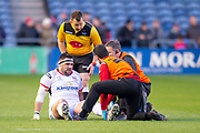 Marty Moore (#3) of Ulster Rugby is treated for an injury during the Guinness Pro 14 2018_19 match between Edinburgh Rugby and Ulster Rugby at the BT Murrayfield Stadium, Edinburgh, Scotland on 12 April 2019.
