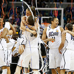 Apr 9, 2013; New Orleans, LA, USA; Connecticut Huskies celebrates after the championship game in the 2013 NCAA womens Final Four against the Louisville Cardinals at the New Orleans Arena. Mandatory Credit: Derick E. Hingle-USA TODAY Sports