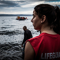 Lesvos Island 01-12-2015 Arrivals of migrants and refugees on the Greek island of Lesvos from the nearby Turkish coast; Volunteers recover dinghies with refugees arriving on the Greek island of Lesvos