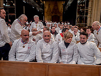 Paul Bocuse's funeral took place in the cathedral St Jean, Lyon.<br /> Eric Bouchenoire and Frederic Anton (L) chefs