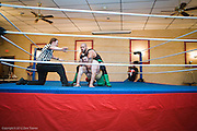 June 29, 2012 -- Referee Anthony Green (left) counts as Ruy Batello (in a lock) and Gunner Row get it on during Northeast Championship Wrestling's PAYBACK at the Jacob Jones VFW Post in  Dedham, on Friday, June 29, 2012.