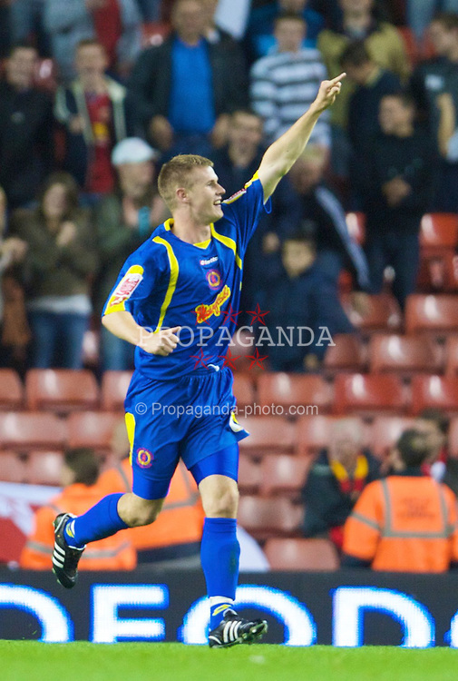 LIVERPOOL, ENGLAND - Tuesday, September 23, 2008: Crewe Alexandra's Michael O'Connor celebrates his equaliser during the League Cup 3rd round match against Liverpool at Anfield. (Photo by David Rawcliffe/Propaganda)