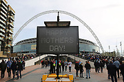 Happy mothers day during the FIFA World Cup Qualifier group stage match between England and Lithuania at Wembley Stadium, London, England on 26 March 2017. Photo by Matthew Redman.