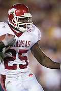 Arkansas Razorback freshman running back Felix Jones looks for a place to run during a 70 to 17 loss to the University of Southern California Trojans on September 17, 2005 at the Los Angeles Memorial Coliseum in Los Angeles, California..Mandatory Credit: Wesley Hitt/Icon SMI