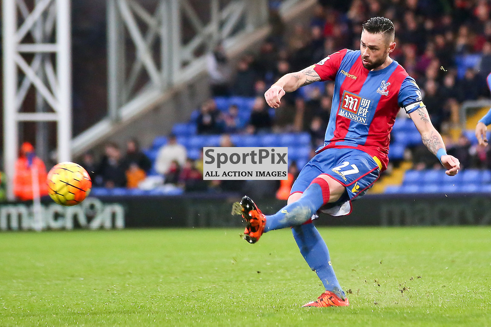 Damien Delaney of Crystal Palace crosses the ball During Crystal Palace vs Chelsea Sunday 3rd January 2016