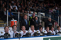 KELOWNA, CANADA - OCTOBER 21: Portland Winterhawks' head coach Mike Johnston and Associate coach Kyle Gustafson stand on the bench against the Kelowna Rockets on October 21, 2017 at Prospera Place in Kelowna, British Columbia, Canada.  (Photo by Marissa Baecker/Shoot the Breeze)  *** Local Caption ***