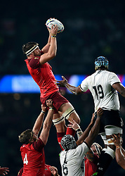 Tom Wood of England wins the ball at a lineout - Mandatory byline: Patrick Khachfe/JMP - 07966 386802 - 18/09/2015 - RUGBY UNION - Twickenham Stadium - London, England - England v Fiji - Rugby World Cup 2015 Pool A.