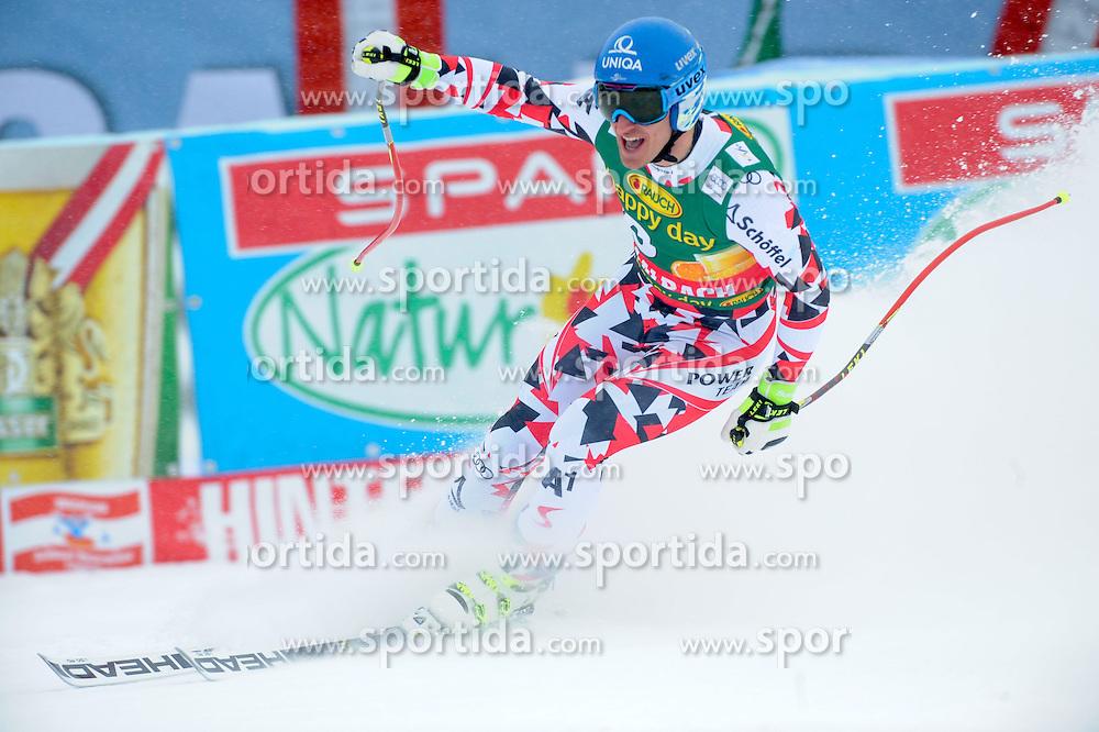 22.02.2015, Schneekristall Zwolfer Weltcupstrecke, Saalbach Hinterglemm, AUT, FIS Weltcup Ski Alpin, Super G, Herren, im Bild Matthias Mayer (AUT, 1. Platz) // first placed Matthias Mayer of Austria reacts after his run for the men's SuperG of the Saalbach FIS Ski Alpine World Cup at the Schneekristall Zwolfer course in Saalbach Hinterglemm, Austria on 2015/02/22. EXPA Pictures © 2015, PhotoCredit: EXPA/ Erich Spiess