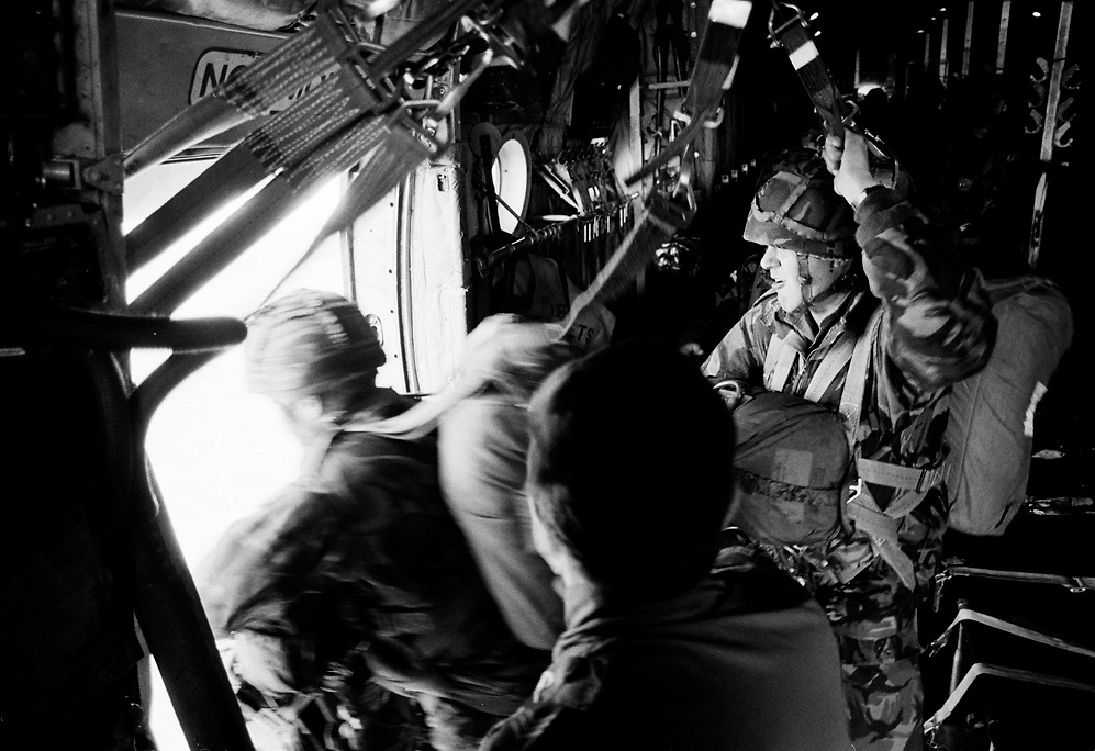 Paratroopers preparing to jump from a Hercules transport plane.Part of a three year photography study.<br />