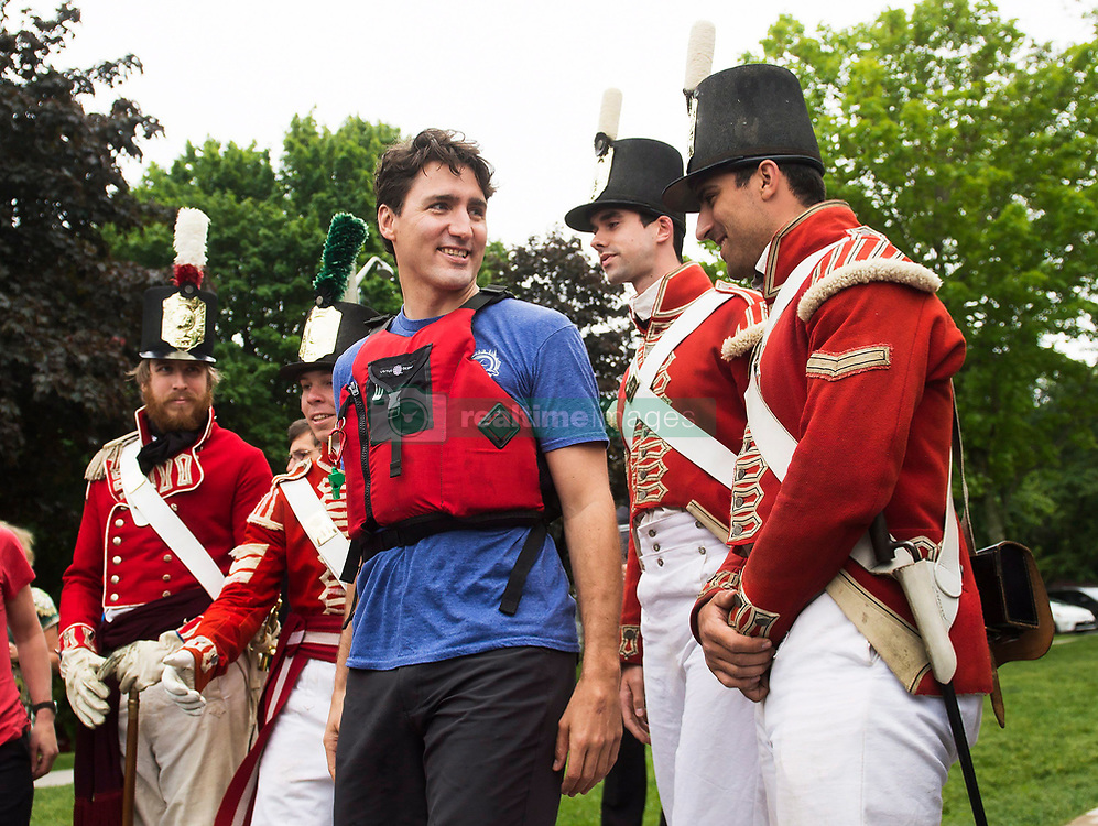 Prime Minister Justin Trudeau greets people after kayaking on the Niagara River Niagara-on-the Lake, Ont., on Monday, June 5, 2017. Trudeau was promoting World Environment Day. Photo by Nathan Denette/CP/ABACAPRESS.COM