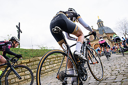 Saartje Vandenbroucke approaches the top of the iconic, Muur van Geraardsbergen - Pajot Hills Classic 2016, a 122km road race starting and finishing in Gooik, on March 30th, 2016 in Vlaams Brabant, Belgium.
