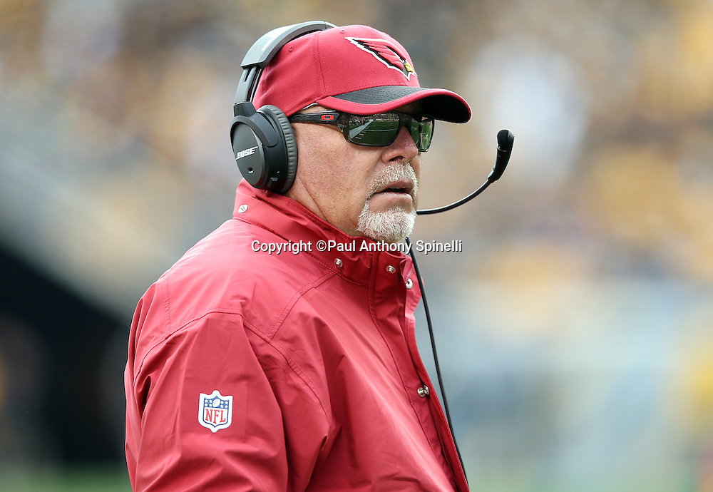 Arizona Cardinals head coach Bruce Arians looks on from the sideline during the 2015 NFL week 6 regular season football game against the Pittsburgh Steelers on Sunday, Oct. 18, 2015 in Pittsburgh. The Steelers won the game 25-13. (©Paul Anthony Spinelli)