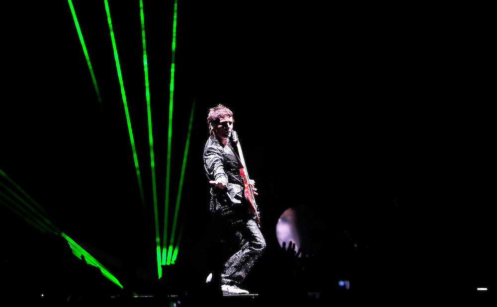 NEW YORK - MARCH 05:  Singer Matthew James Bellamy of the band Muse performs in concert at Madison Square Garden on March 5, 2010 in New York City.  (Photo by Joe Kohen/WireImage for New York Post)