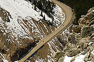 Beartooth Scenic Byway, Montana, Gallatin National Forest, Motorcycles on opening day in May, Cooke City to Beartooth Pass and Red Lodge