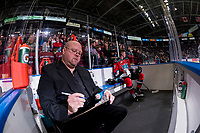 KELOWNA, CANADA - OCTOBER 28: Libor Zabransky #7 of the Kelowna Rockets sits in the penalty box with an ice official against the Prince George Cougars on October 28, 2017 at Prospera Place in Kelowna, British Columbia, Canada.  (Photo by Marissa Baecker/Shoot the Breeze)  *** Local Caption ***