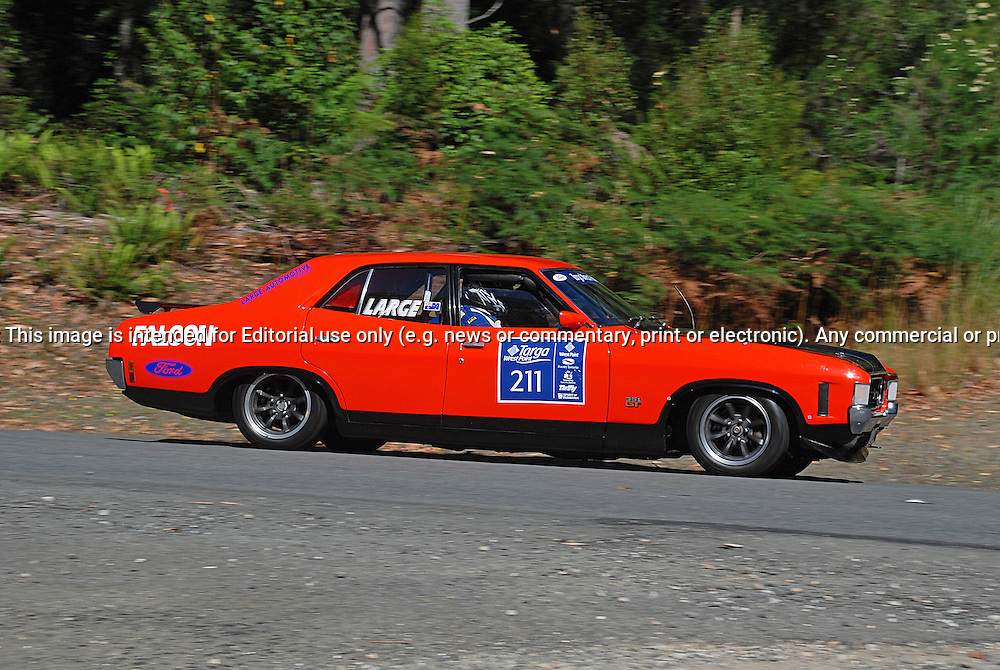 211 Ray Large & David Dredge .1972 Ford Falcon GT.Day 1.Targa Wrest Point 2010.Southern Tasmania.30th of January 2010.(C) Sarah Biggin.Use information: This image is intended for Editorial use only (e.g. news or commentary, print or electronic). Any commercial or promotional use requires additional clearance.