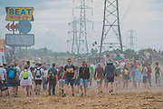 The crowd skick up a dust storm - The 2017 Glastonbury Festival, Worthy Farm. Glastonbury, 2 June 2017