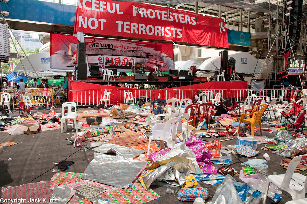20 MAY 2010 - BANGKOK, THAILAND: The now abandoned Red Shirt stage in the Ratchaprasong Intersection in Bangkok Thursday. The day after a military crackdown killed at least six people, Thai authorities continued mopping up operations around the site of the Red Shirt rally stage and battle fires set by Red Shirt supporters in the luxury malls around the intersection. PHOTO BY JACK KURTZ