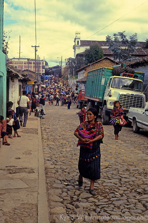 Central America, Guatemala, Chichicastenango. Street scene on market day in Chichicastenango.