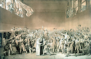 Tennis Court Oath, June 20 1789'.  French Revolution: Meeting of States General where Deputies swore not to meet again until a Parliament had been formed.  Jacques Louis David (1748-1825) French painter.  Pen and bistre wash with white highlights on paper.
