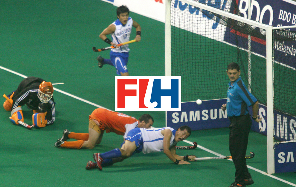 Kuala Lumpur:  Joung Goo Kim of Korea miises an golden opportunity to score the equaliser against  Netherlands in the Samsung Hockey Men Champions Trophy on 09 Dec 2007. Photo:GNN/Vino John