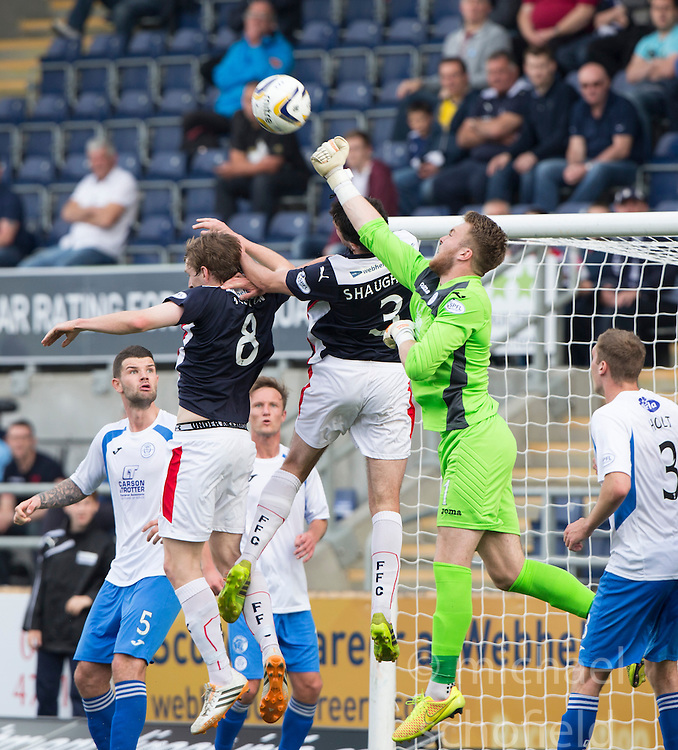 Queen of the South's keeper Zander Clark saves again.<br /> Falkirk 1 v 1 Queen of the South, Scottish Championship game played today at The Falkirk Stadium.