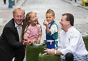 Repro Free: <br /> Lorcan Bourke of Bord Bia and P&aacute;draic &Oacute;g Gallagher of Gallagher's Boxty House are pictured with Malena Behan (age 6) from Palmerstown and Jayden Whelan (age 6) from Swords as Bord Bia, in conjunction with the Irish Potato Federation and the Irish Farmer&rsquo;s Association, welcome the return of National Potato Day this Friday, 3rd October. Much-loved by Irish families for generations, National Potato Day celebrates a reliable favourite that not only tastes delicious and is incredibly versatile, but also provides a naturally healthy option for meal times.<br /> For exciting and inspiring potato recipes, a chance to enter some great competitions and a list of National Potato Day events visit www.potato.ie. Picture Andres Poveda<br />  <br /> -Ends-<br />  <br /> For more information, please contact:<br /> Mark Kilbride (086 3966338) or Clodagh Hogan (087 7746128)