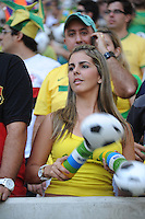 Local girl fan. Crowd in stadium. Brazil v England  football match, Maracana stadium, Rio de Janeiro, Brazil. 2nd June 2013.