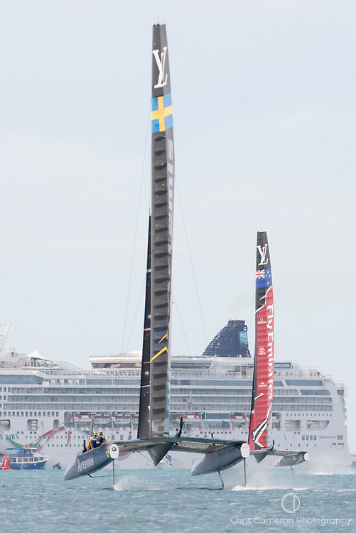 The Great Sound, Bermuda 12th June 2017. Emirates Team New Zealand and Artemis Racing in race seven of the Louis Vuitton America's Cup Challenger series. ETNZ Win the race and the LVAC Challenger series.