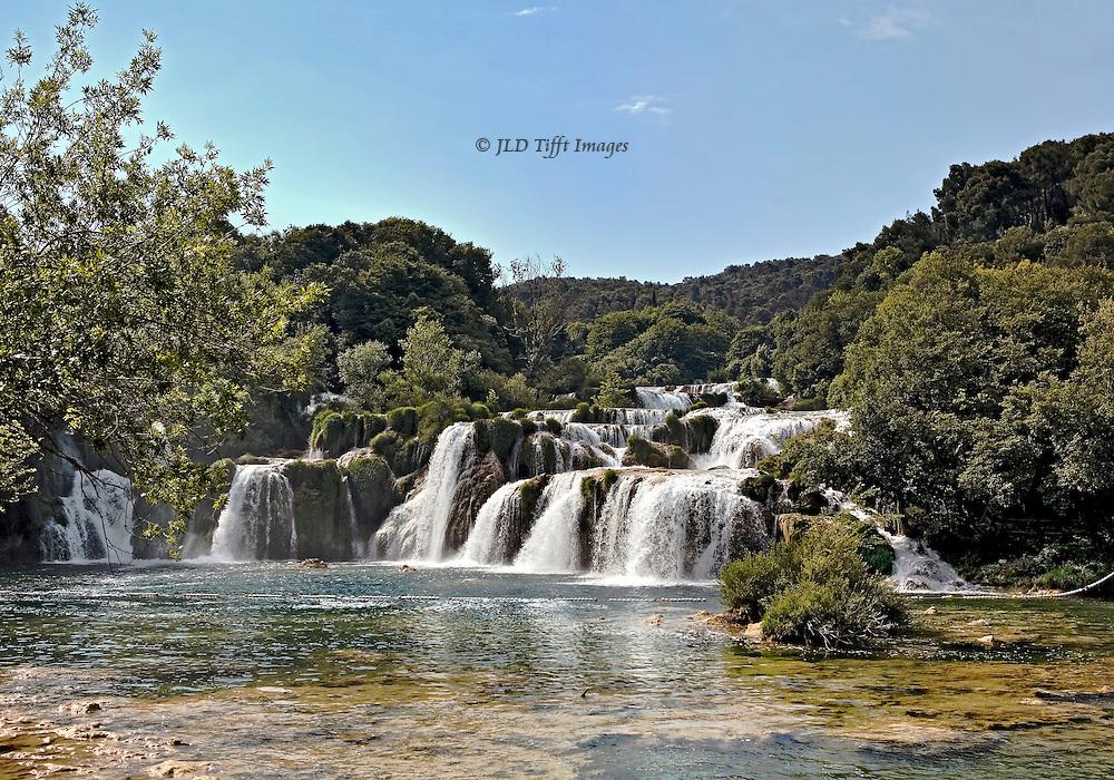 Landscape view of the waterfalls on the Krka River at Skradinski Buk, near Sibenik, Croatia.