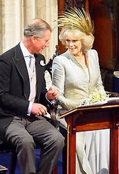 Prince Charles and his new wife Camilla Parker Bowles attend their wedding blessing at St George's Chapel in Windsor.<br />