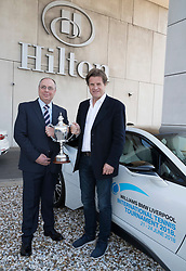 LIVERPOOL, ENGLAND - Thursday, April 19, 2018: Sponsor Chris Woods from BMW with tournament director Andrers Borg after a press event at the Hilton Hotel for the launch of the 2018 Liverpool International Tennis Tournament, which will be held at Liverpool Cricket Club 21st to 24th June. (Pic by Jason Roberts/Propaganda)