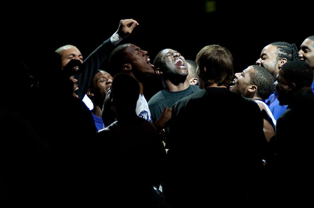 The University of Central Arkansas Bears go through their pregame ritual prior to a game.