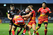Edinburgh's Jamie Ritchie ploughs into the Dragons' defence during the Guinness Pro 14 2017_18 match between Edinburgh Rugby and Dragons Rugby at Myreside Stadium, Edinburgh, Scotland on 8 September 2017. Photo by Kevin Murray.