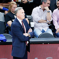 01 May 2017: Houston Rockets head coach Mike D'Antoni is seen during the Houston Rockets 126-99 victory over the San Antonio Spurs, in game 1 of the Western Conference Semi Finals, at the AT&T Center, San Antonio, Texas, USA.