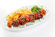 Kabobs at Gamaroff's steakhouse  in Hallandale, Florida