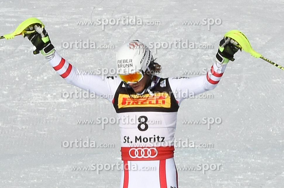 19.02.2017, St. Moritz, SUI, FIS Weltmeisterschaften Ski Alpin, St. Moritz 2017, Slalom, Herren, 1. Lauf, im Bild Manuel Feller (AUT) // Manuel Feller of Austria reacts after his 1st run of men's Slalom of the FIS Ski World Championships 2017. St. Moritz, Switzerland on 2017/02/19. EXPA Pictures © 2017, PhotoCredit: EXPA/ Erich Spiess