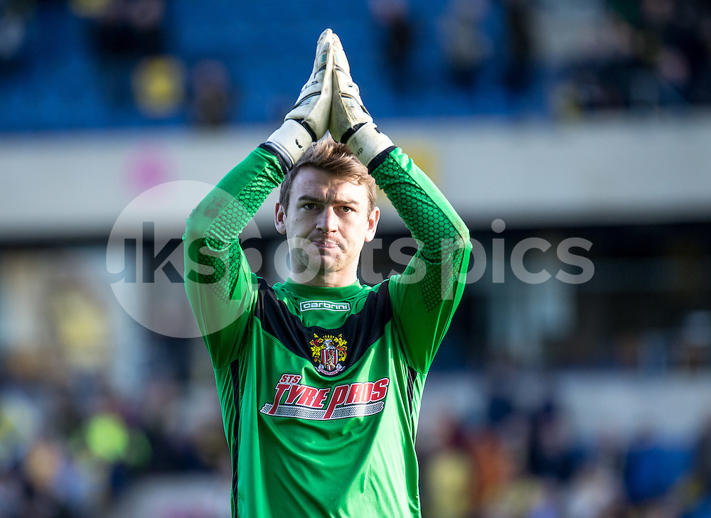 Penalty save hero Goalkeeper Jamie Jones of Stevenage after the Sky Bet League 2 match between Oxford United and Stevenage at the Kassam Stadium, Oxford, England on the 25th March 2016. Photo by Liam McAvoy.