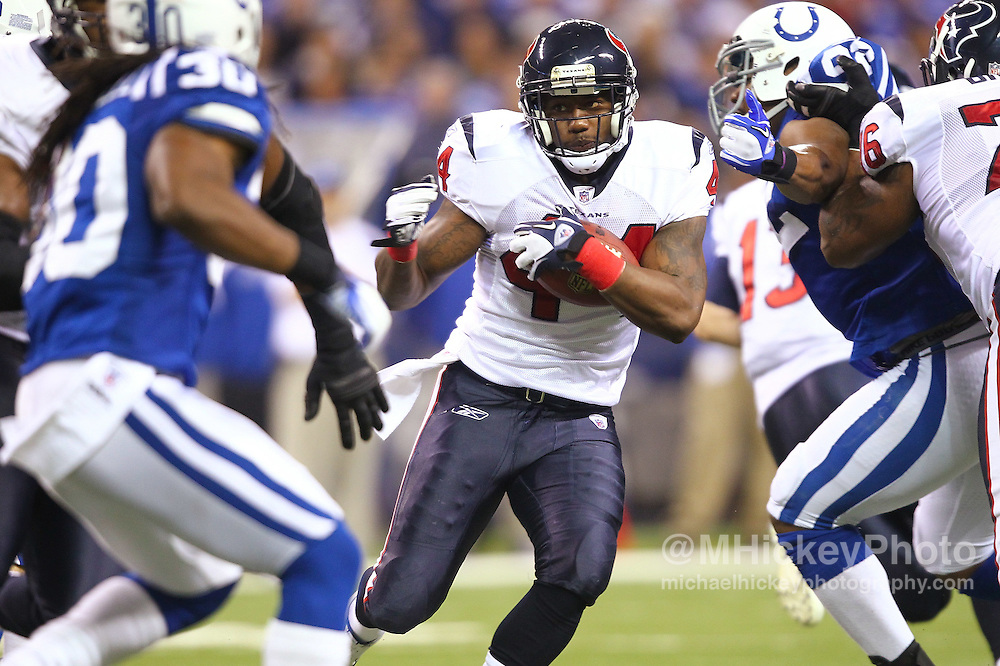 Dec. 22, 2011; Indianapolis, IN, USA; Houston Texans running back Ben Tate (44) runs the ball against the Indianapolis Colts at Lucas Oil Stadium. Mandatory credit: Michael Hickey-US PRESSWIRE