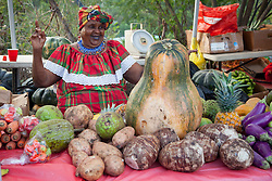 Theresa Davis dances to the music playing at the fair while waiting for visitors to buy the plentiful fruits and vegetables at her booth.  20th Annual Bordeaux Farmers Rastafari Agricultural & Cultural Vegan Food Fair.  Bordeaux Farmers Market.  St. Thomas, USVI.  14 January 2017.  © Aisha-Zakiya Boyd