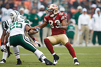 07 December 2008: Wide receiver Arnaz Battle of the San Francisco 49ers blocks against the New York Jets during the first half of the 49ers 24-14 victory over the Jets at Candlestick Park in San Francisco.
