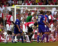 Photo: Richard Lane.<br />Arsenal v Everton. Barclaycard Premiership.<br />16/08/2003.<br />Sol Campbell is sent off by Mike Halsey.