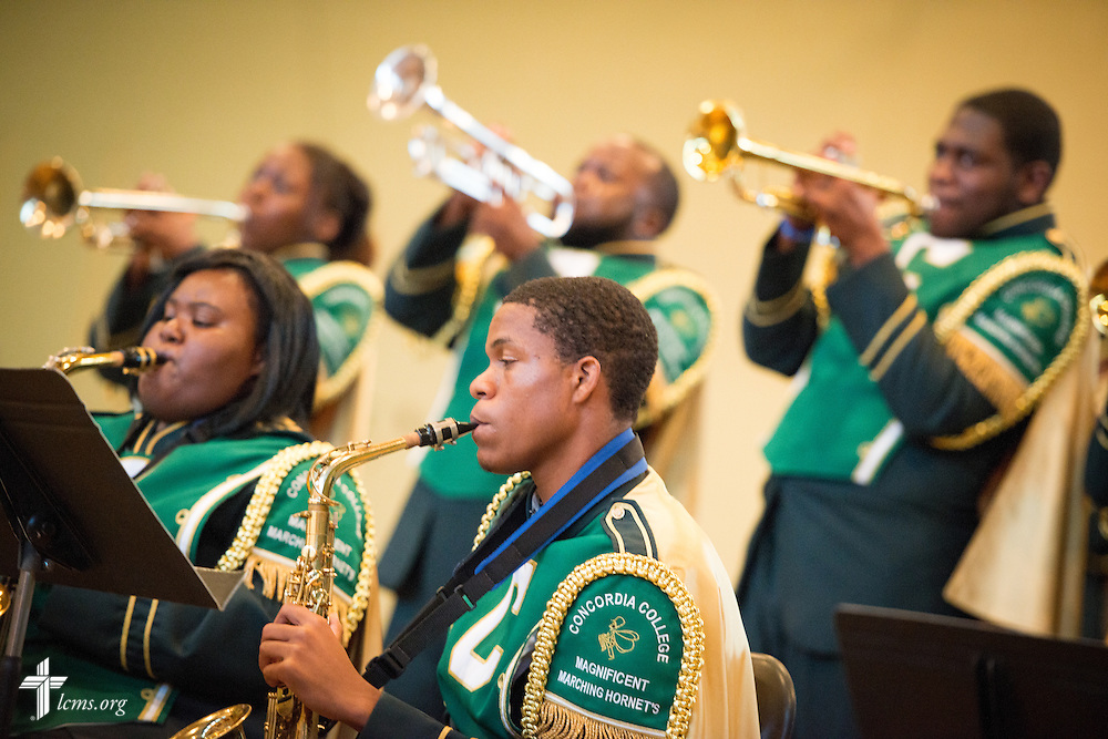 Members of the marching band rehearse in the gymnasium at Concordia College Alabama on Tuesday, August 18, 2014, in Selma, Ala.  LCMS Communications/Erik M. Lunsford