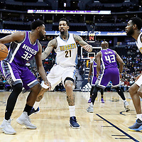 06 March 2017: Denver Nuggets forward Wilson Chandler (21) and Denver Nuggets guard Will Barton (5) defend on Sacramento Kings guard Tyreke Evans (32) during the Denver Nuggets 108-96 victory over the Sacramento Kings, at the Pepsi Center, Denver, Colorado, USA.
